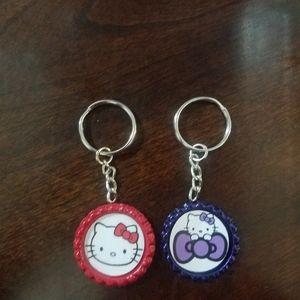 Hello Kitty Bottle Cap Keychains